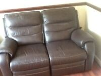 Leather recliner sofa one 2 seater and one chair in excellent condition very rarely used