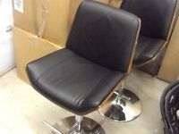 3 leather and walnut barstool chairs