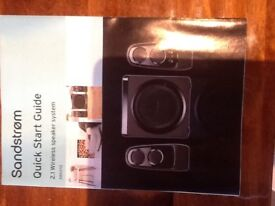 SANDSTROM 2.1 WIRELESS SPEAKER SYSTEM (REDUCED TO SELL, NOW ONLY £30