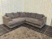 Grey Cord Corner Sofa Settee