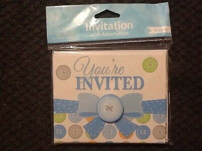 Creative Converting Cute As A Button Boy Invitations 8ct. Shower Party Supplies - Cute As A Button Invitations