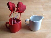 Heart shaped cup & cream pot