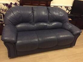 Blue leather 3 piece suite