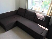 IKEA FRIHETEN SOFA BED, corner sofa, double bed, dark brown, excellent condition