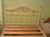 White and gold fram metal double bed