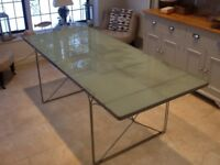 Industrial chic steel and glass dining table
