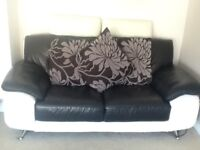 Gorgeous modern black & cream leather sofas