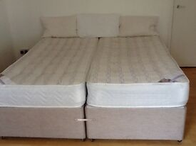 (SOLD) Zip & Link Superking Bed With Mattresses (can be separated to make 2 singles)