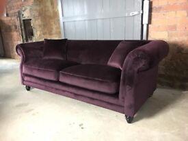 NEW Plum Velvet 3 Seater Sofa, Can Deliver