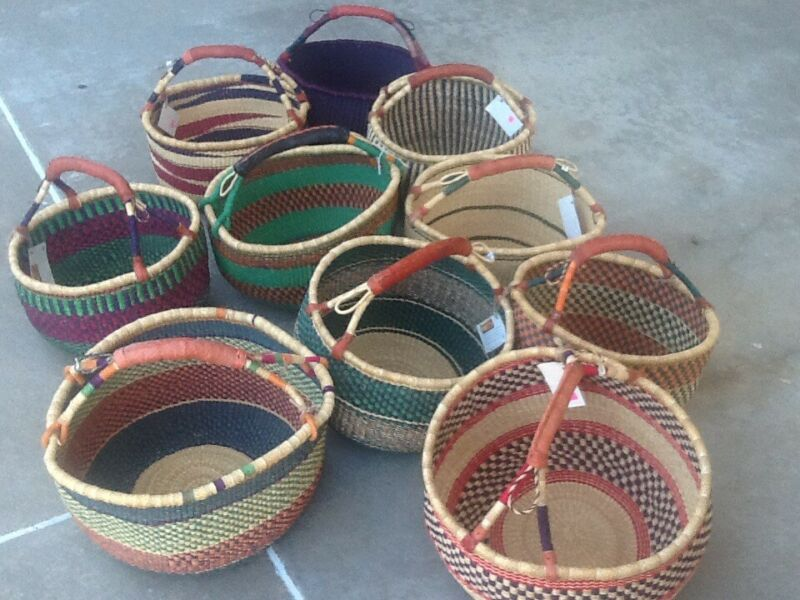 "Lot Of 12 large African Bolga Ghana Market Basket 14""-16"" Across (COLORS VARY)"
