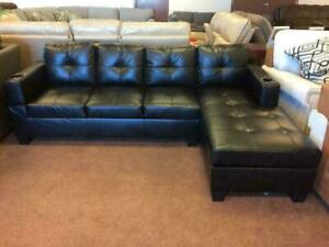 Super Easter SALE !!! BLACK SECTIONAL WITH CUP HOLDERS AND FULL COMFORT ZONE JUST FOR $ 549