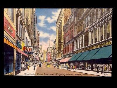 c1940's Boston, Mass. Washington St. Downtown Stores Vintage Linen (Downtown Boston Stores)