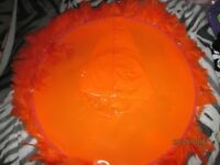 NEON ORANGE PVC LARGE WITCH HAT PURPLE WITH FEATHER TRIM NEW GREAT FOR HALLOWEEN