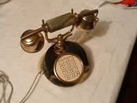 Vintage Retro Push Button Onyx and gold 70's telephone in working order
