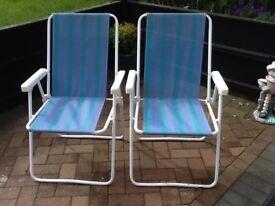 Pair folding chairs garden etc