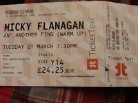 2 Micky Flanagan tickets, Edinburgh Playhouse. Tues 21st March, 7.30pm