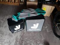 Used Deliveroo Waterproof Jacket (Size large) and Both Deliveroo bags