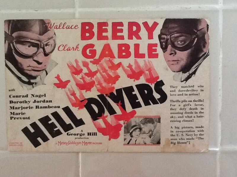 Clark Gable & Wallace Beery MGM 1932   Herald  Hell Divers