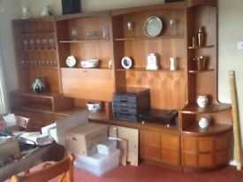 Vintage Nathan teak wall unit, drinks cabinet &a telephone table