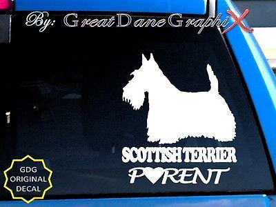 Scottish Terrier PARENT(S) - Vinyl Decal Sticker / Color Choice - HIGH - Scottish Terrier Colors