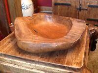 Large carved teak bowl