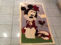 New/Unused 100% wool rug 126cm x 67cm in Disney Minnie Mouse design/print--15mm thick/deep/dense