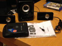 must go TODAY pc or mobile phone speaker set with wee boom box and all cables and CD PLAYER