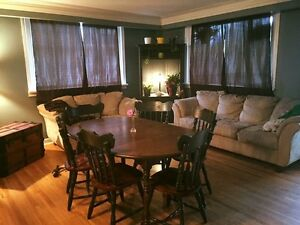 Suede couch, loveseat, six chair dining table