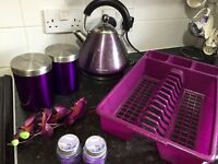 Purper kitchen accessories kettle, toaster, jars