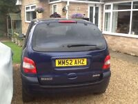 2003 Renault scenic 7 seater estate car, mot October 2017. Twin glass roof, excellent drive.