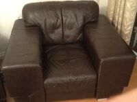Brown Leather 3 piece suite (2 X 3 seat sofa + 1 single chair)(price reduced and still available)
