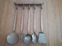 Set of 5 Vintage French Copper Kitchen Utensils