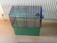 Gerbil cage with water bottle, food pot and multi layers