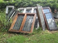 Original 1920s wooden leaded glass windows for sale. Variety of sizes to suit many Windows.