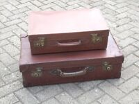 Lovely mint condition vintage leather suitcases with brass locks