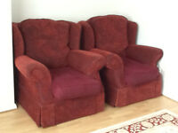 Two seater settee with two matching single arm chairs
