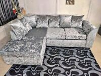 🔰💯 AFFORDABLE PRICES NEW CRUSH VELVET SOFA CORNER UNIT AND 3+2 SOFAS SET 💢
