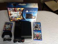 Sony PlayStation 4 500GB, Grand Theft Auto 5, Far Cry 4 and Destiny Games, includes original box.