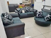 SUPPER OFFER Shannon black and grey CORNER OR 3+2 SEATER SOFA SET AVAILABLE IN STOCK