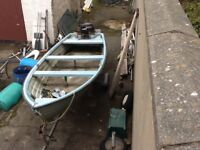 16 foot dingy/fishing boat with 4 hp 4 stroke long shaft outboard and galvanised trailer