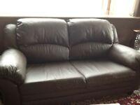 3 seater brand brown leather settee