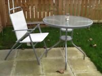 Garden glass top table 4 chairs & parasol £35
