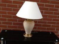 Ceramic cream table lamp with shade
