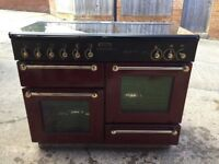 RANGEMASTER 110CM GAS RANGE COOKER.BLACK AND CRANBERRY. IMMACULATE INSIDE AND OUT