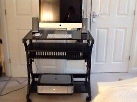 Black glass/black metal PC desk...