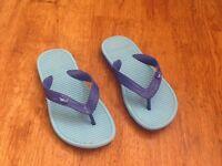Boys blue shark flip flops