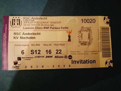 Ticket : RSC Anderlecht - KV Mechelen 09-08-2019 Belgique Pro League