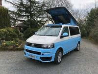 VW T5.1 65 PLATE TWO TONE BABY BLUE WARRANTY SKYLINE POP TOP M1 TESTED BED FULL CONVERSION CAMPER