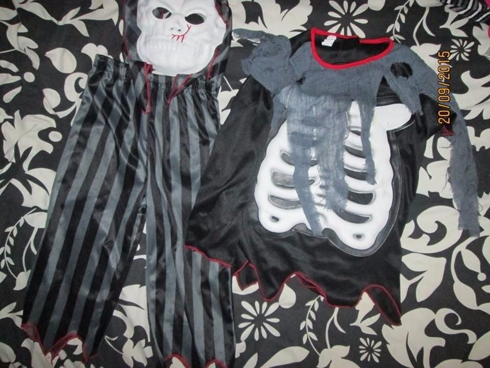 KIDS SKELETON ZOMBIE FANCY DRESS OUTFIT AGE 5 / 6 YEARS GREAT FOR HALLOWEEN