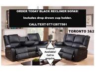 SOFA BLACK RECLINER 3 + 2 BONDED LEATHER !
